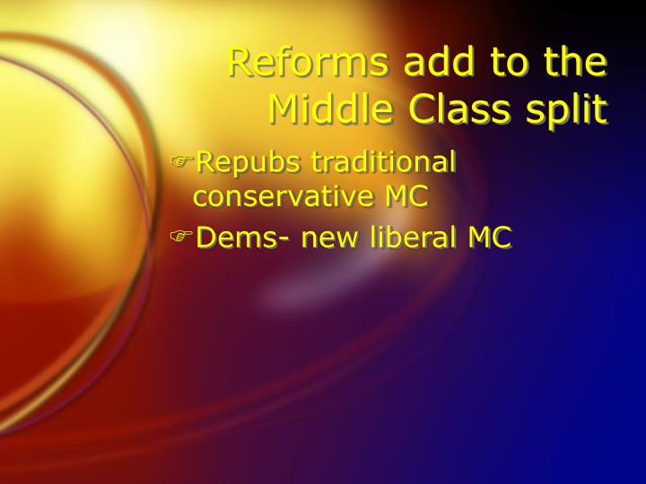 Reforms add to the Middle Class split