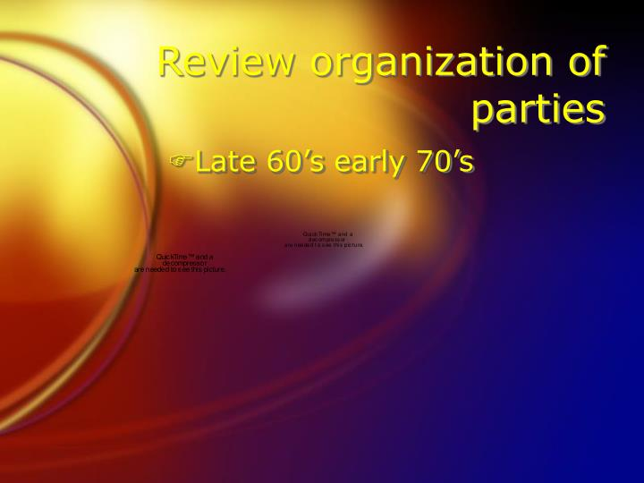 Review organization of parties