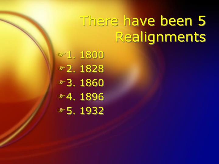 There have been 5 Realignments