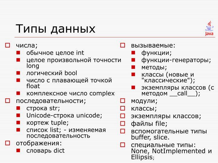 Типы данных