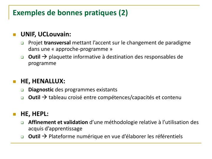 Exemples de bonnes pratiques (2)