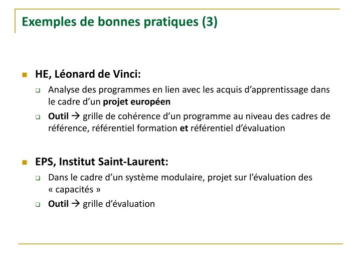 Exemples de bonnes pratiques (3)