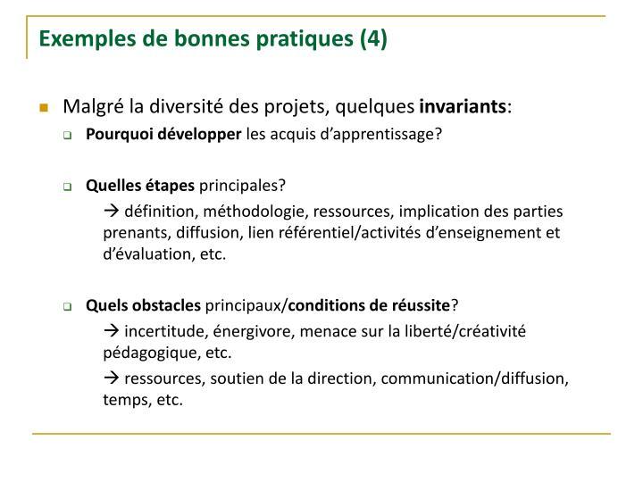 Exemples de bonnes pratiques (4)