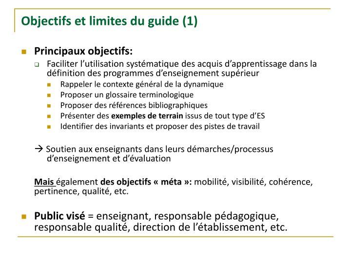 Objectifs et limites du guide (1)
