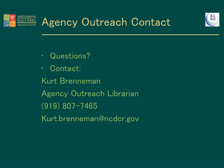 Agency Outreach Contact
