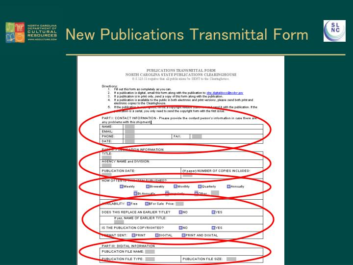 New Publications Transmittal Form