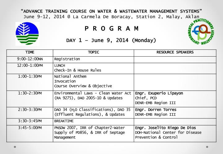 """ADVANCE TRAINING COURSE ON WATER & WASTEWATER MANAGEMENT SYSTEMS"""