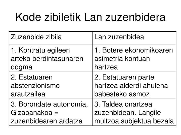 Kode zibiletik Lan zuzenbidera