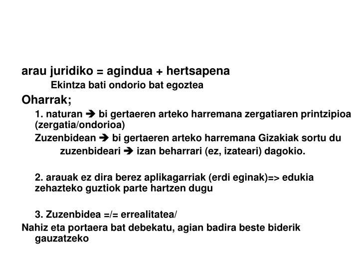 arau juridiko = agindua + hertsapena