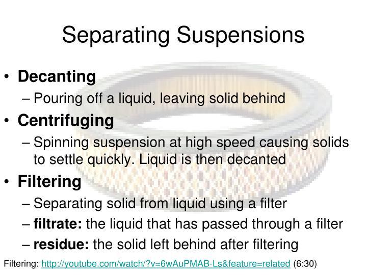 Separating Suspensions