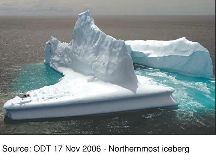 Source: ODT 17 Nov 2006 - Northernmost iceberg