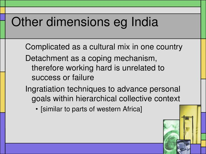Other dimensions eg India