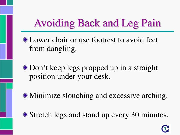 Avoiding Back and Leg Pain