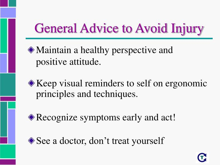 General Advice to Avoid Injury
