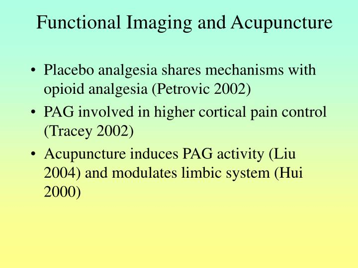 Functional Imaging and Acupuncture