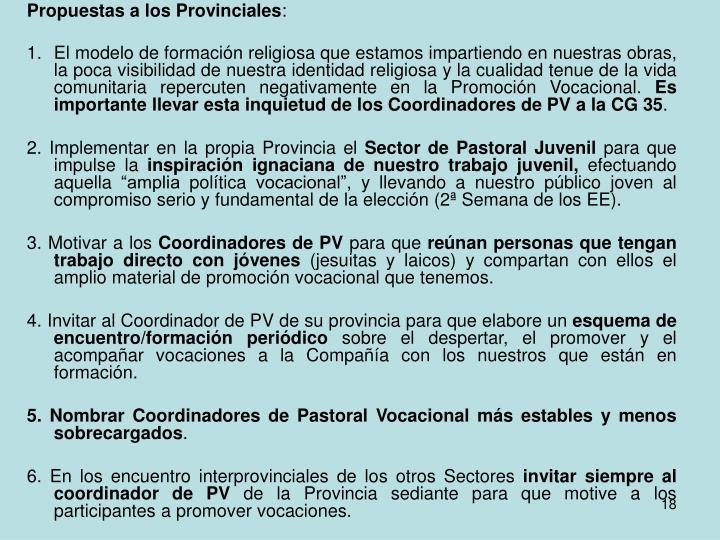 Propuestas a los Provinciales