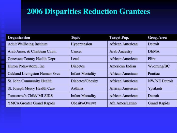 2006 Disparities Reduction Grantees