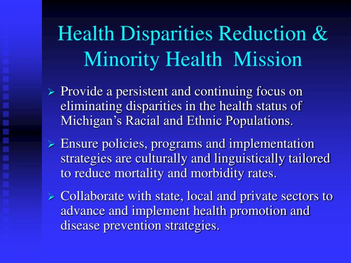 Health disparities reduction minority health mission