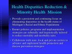 health disparities reduction minority health mission
