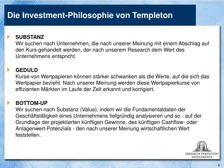 Die Investment-Philosophie von Templeton