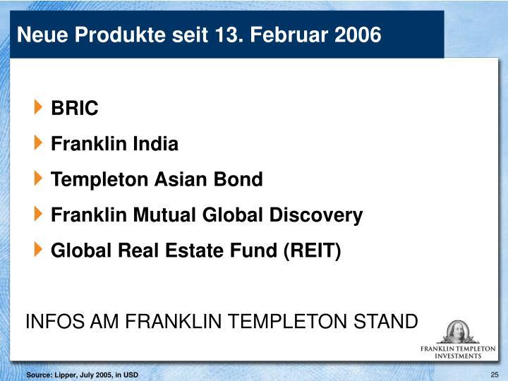Neue Produkte seit 13. Februar 2006