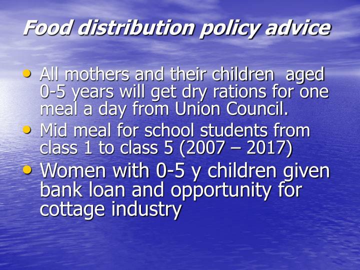 Food distribution policy advice