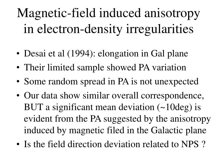 Magnetic-field induced anisotropy  in electron-density irregularities