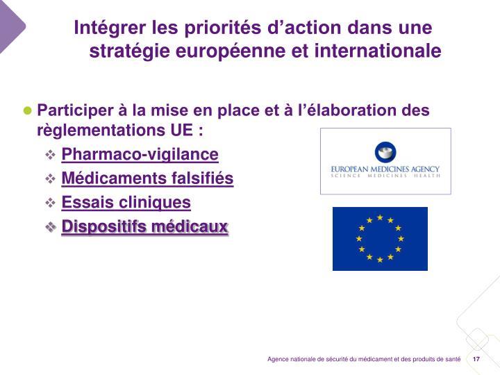 Intégrer les priorités d'action dans une stratégie européenne et internationale