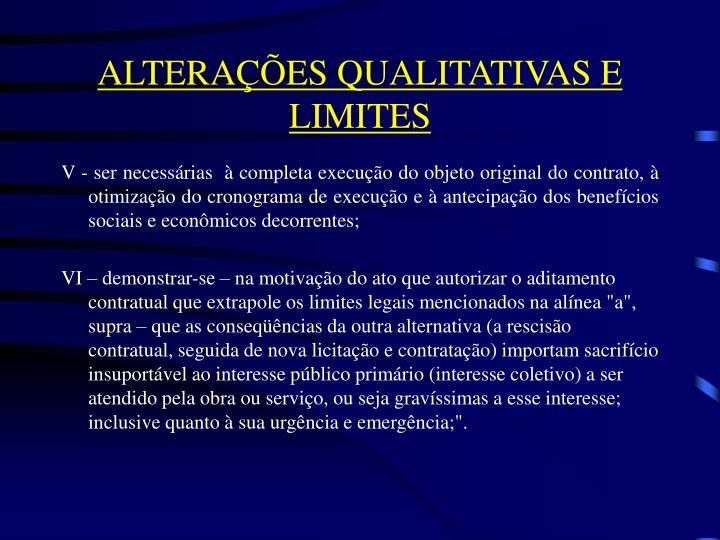 ALTERAÇÕES QUALITATIVAS E LIMITES