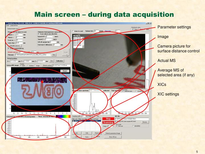 Main screen – during data acquisition
