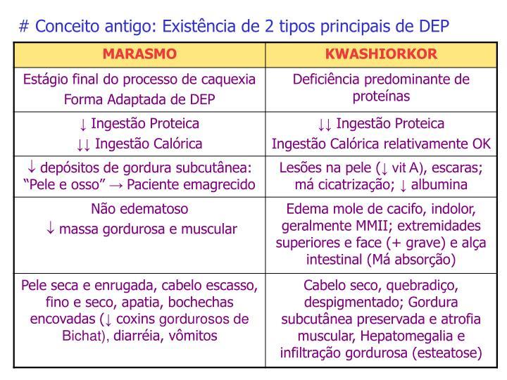# Conceito antigo: Existência de 2 tipos principais de DEP
