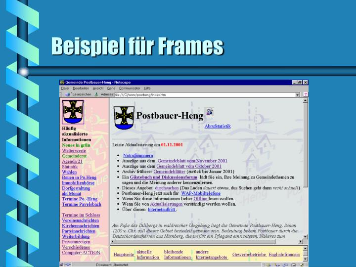 Beispiel für Frames