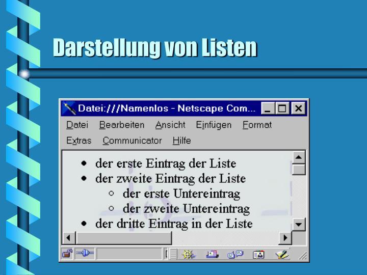 Darstellung von Listen