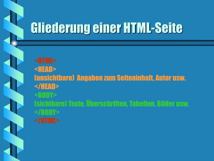 Gliederung einer HTML-Seite