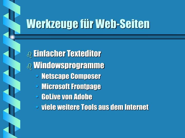 Werkzeuge für Web-Seiten