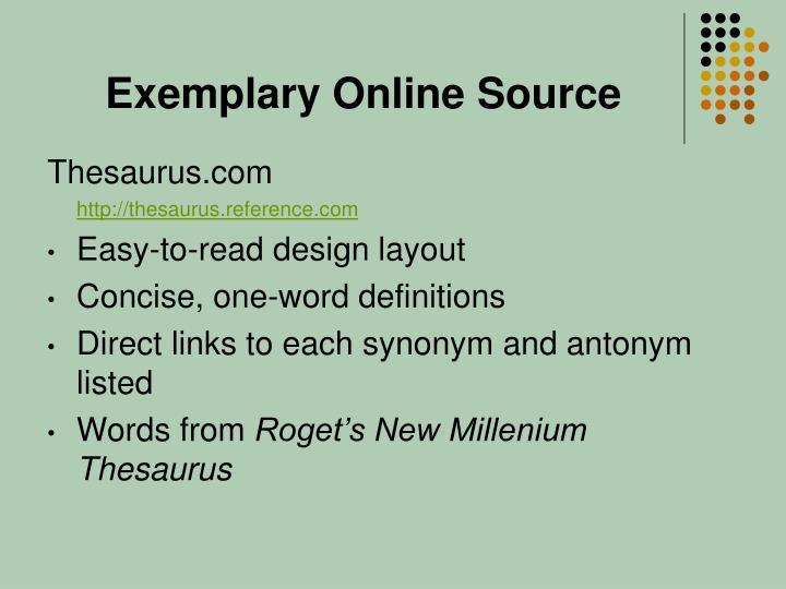 Exemplary Online Source