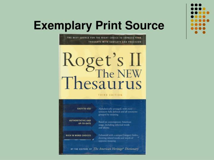 Exemplary Print Source