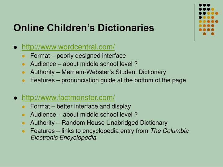 Online Children's Dictionaries