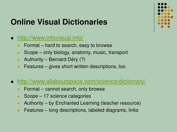 Online Visual Dictionaries