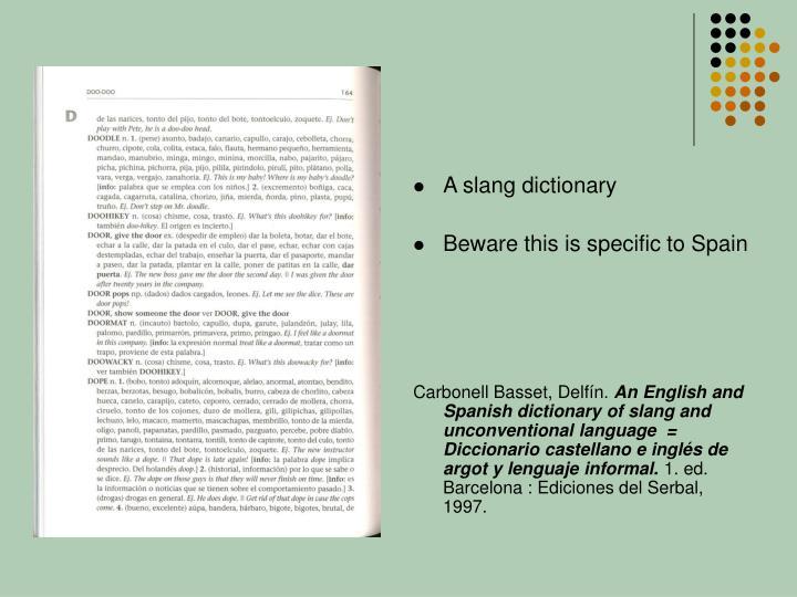 A slang dictionary