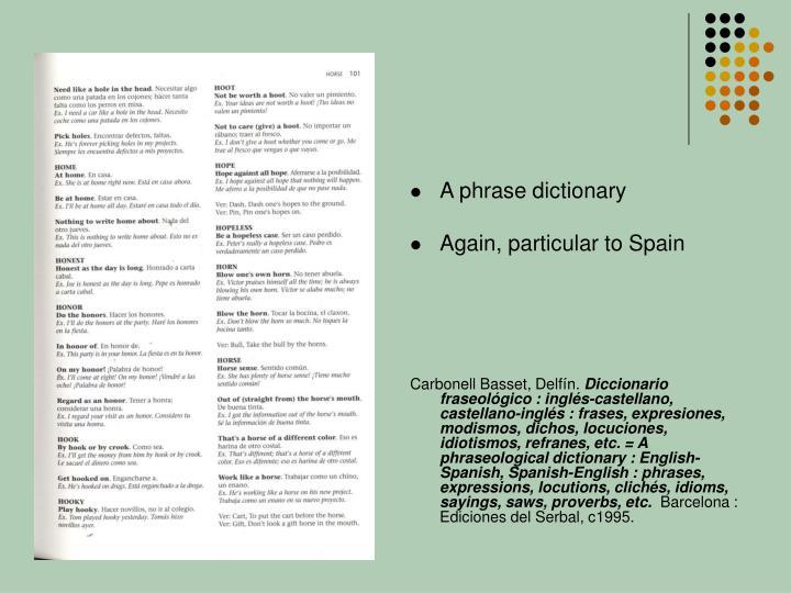 A phrase dictionary