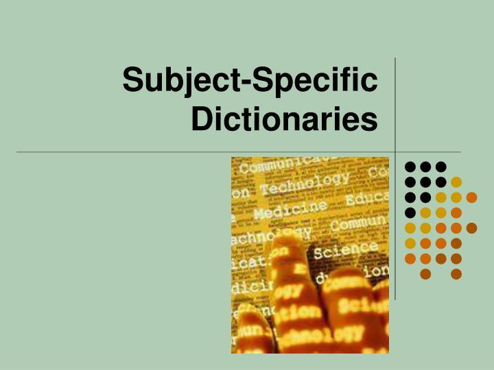 Subject-Specific