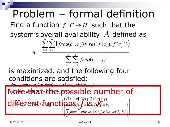 Note that the possible number of different functions