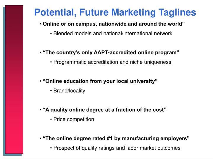 Potential, Future Marketing Taglines