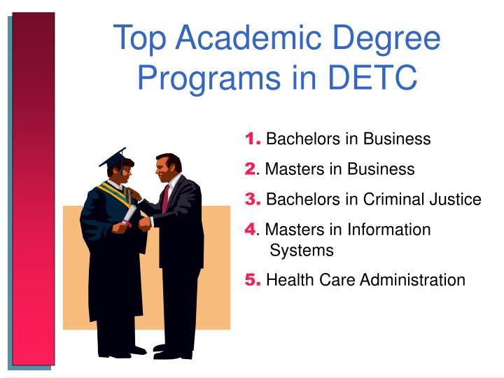 Top Academic Degree Programs in DETC