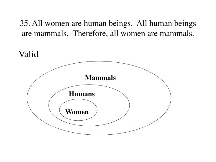35. All women are human beings.  All human beings are mammals.  Therefore, all women are mammals.