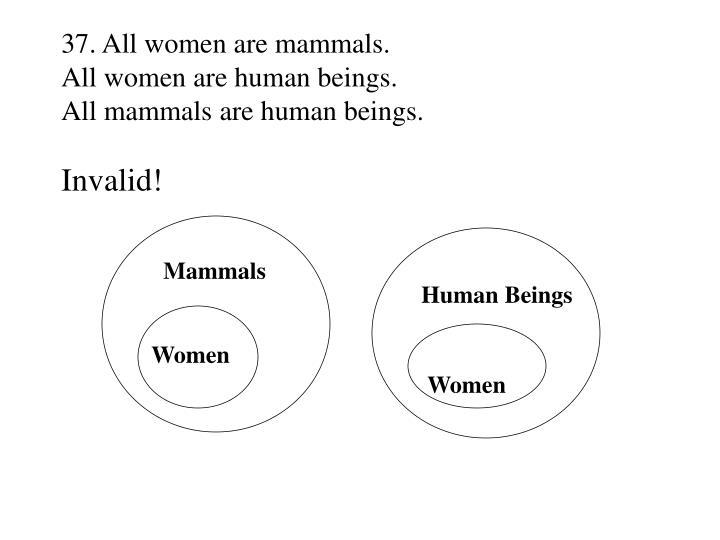 37. All women are mammals.