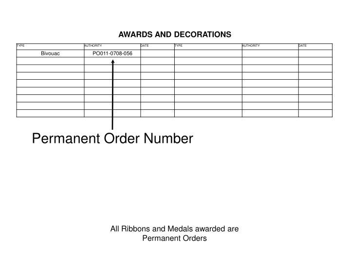 Permanent Order Number