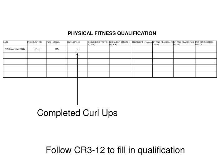 Completed Curl Ups