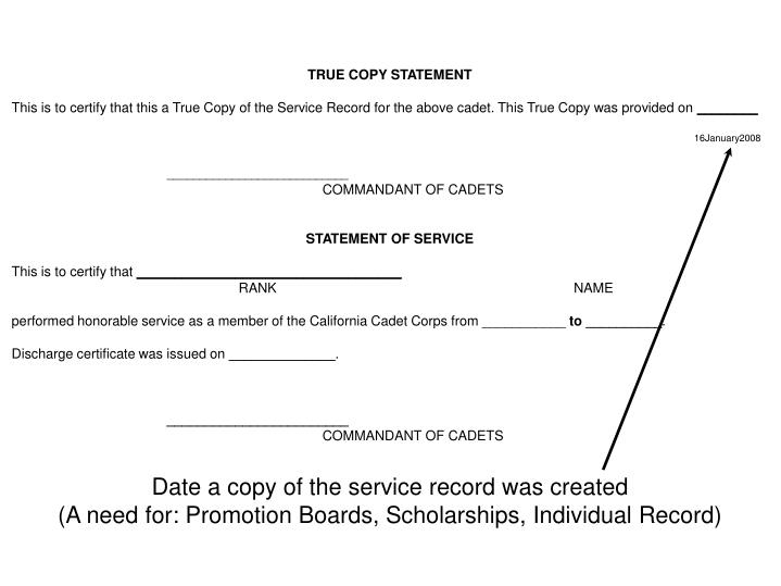 Date a copy of the service record was created